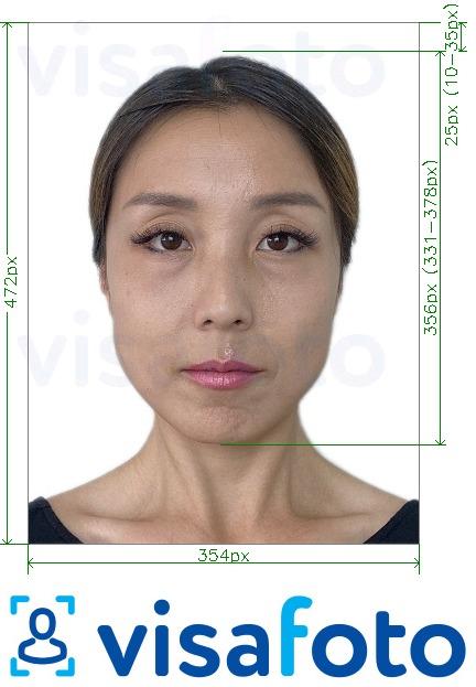 Образец фотографии для Китай паспорт онлайн 354x472 точек с точными размерами